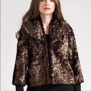 Alice & Olivia Masha Metallic Faux Fur Jacket Sz M